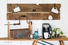 #1. Vintage sign and ironing board / 6 ways to make a vintage coffee station... upcycled style! By Funky Junk Interiors for ebay.com