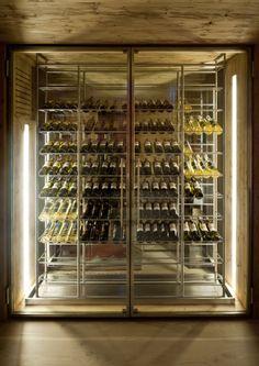 Chalet Gstaad. Location: Bern, Switzerland; firm: Ardesia Design Ltd Glass Wine Cellar, Home Wine Cellars, Wine Cellar Design, Wine Shelves, Wine Storage, Caves, Wine Cellar Basement, Chalet Style, Wine Display