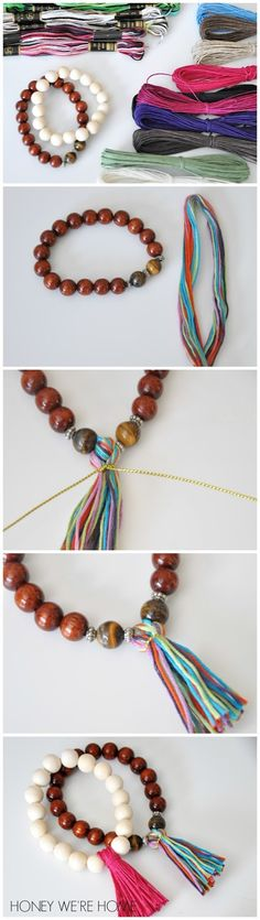 DIY Tassel Bracelets | Honey We're Home Tassel Bracelet, Tassel Jewelry, Beaded Jewelry, Jewelry Bracelets, Jewelery, Handmade Jewelry, Bracelet Making, Jewelry Making, Diy Cadeau
