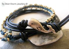 Wrap Bracelet Leather Wrap Bracelet Boho by SilverStormJewellery