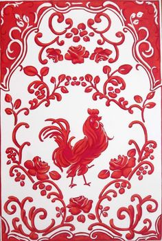Cottage Charm - red rooster textile
