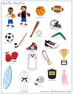 Sports - drawing - writing - stories - story rocks - kindergarten - first grade - second grade - third grade - writing prompts - sentence starters - story Sentence Starters, Story Starters, Third Grade Writing, Second Grade, Writing Prompts, Story Prompts, Sports Theme Classroom, Look Adidas, Kindergarten