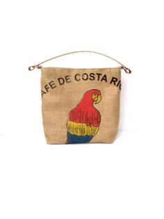 Coffee Sack Hobo Bag Parrot by JuneberryStitches on Etsy