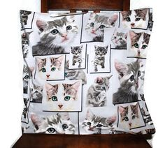 Cute cats throw pillow cover Decorative Pillow Cover by leonorafi