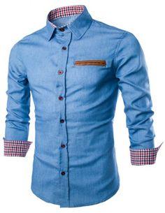 Stylish Shirt Collar Color Block PU Leather Pocket Hemming Slimming Long Sleeve Denim Shirt For MenShirt | RoseGal.com