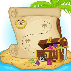 Illustration about Treasure map and treasure chest on island - vector illustration, eps. Illustration of action, hamster, entertainment - 49274865 Buried Treasure, Treasure Maps, Treasure Island, Treasure Chest, Free Vector Graphics, Vector Art, Sunday School Crafts For Kids, Kids Crafts, Dibujos Cute