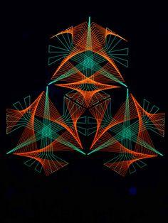 "2D StringArt Deko Objekt ""Cosmic Rail Map""  #blacklight #schwarzlicht #stringart…"