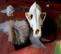 Coyote fur and leather pouch - taxidermy inspired art by Lupa. Available at https://www.etsy.com/listing/219142261/black-recycled-leather-pouch-with-real