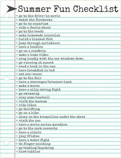 Summer checklist for planner