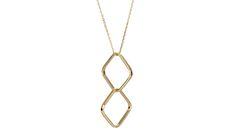 Handmade 18ct yellow gold double square sapphire pendant
