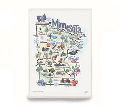 Minnesota Art Minnesota Map Minnesota Print by FishKissBrand