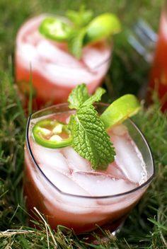 Watermelon Jalapeño Cocktail Cooler for summer parties