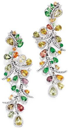 18 karat white gold, colored stone and diamond pendant-earclips, Michael Youssoufian. Via Diamonds in the Library.