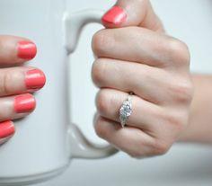 Silver Art Deco Engagement Ring Vintage Wedding Ring