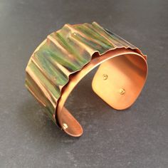 Green Copper Cuff Bracelet, Copper Metalwork Bracelet, Camouflage Copper Cuff, Green Cuff Bracelet, Copper Bracelet, Red Fern Studio