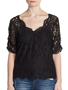 Joie Nevina Lace Top - Caviar - Size X Small