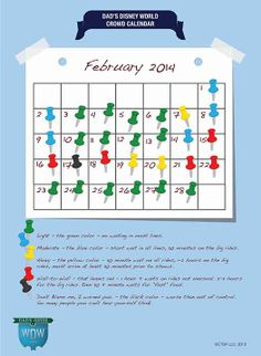 Dad's February 2014 Disney World Crowds Calendar