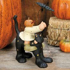 Ghost Riding Cat Halloween Figurine