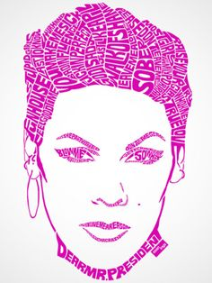'P!nk' by Sean Williams of Alberta, Canada, is a portrait of the singer created using the titles of her songs.