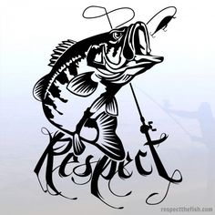 "Largemouth Bass ""Respect"" Window Sticker in Black. Professional grade outdoor vinyl decal. Over 40 fish designs available at respectthefish.com."