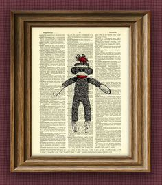 cool SOCK MONKEY illustration beautifully upcycled dictionary page book art print $6.99