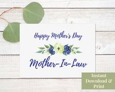 Mother's Day Card for Mother In Law Printable Card, Printable Mother's Day Card for Mother In Law, Digital Download Congratulations Baby Boy, Printable Cards, Printables, Birthday Cards, Happy Birthday, Retirement Cards, Mother In Law, New Baby Cards, Welcome Baby