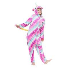 Stripe Unicorn Unisex Fleece Nightgown Pajamas – alfagoody Adult Pajamas, Animal Pajamas, Onesie Pajamas, Fleece Pajamas, Kids Pajamas, Sleeping Gown, Cute Onesies, Animal Costumes