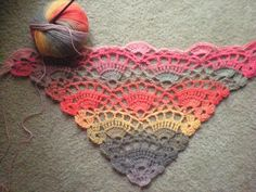 Free crochet shawl pattern on Ravelry. (I don't crochet, but look at that yarn! Crochet Diy, Poncho Au Crochet, Crochet Shawls And Wraps, Love Crochet, Crochet Scarves, Crochet Crafts, Crochet Stitches, Crochet Hooks, Crochet Projects