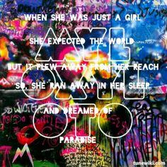 Coldplay lyrics paradise quote