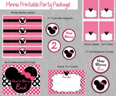 Printable Minnie Mouse Birthday Party Package - Print Your Own - DIY - Invitation, Cupcake Toppers, Food Labels, Water Bottle Labels & more!...