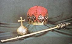 Regalia of King Sigismund II Augustus, Poland (ca. 1550; from top, the Crown, the Orb, the Sceptre).