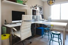2 person ikea desk setup.  Photography office. Office space for 2 using Ikea desks. Desk for 2 computers.