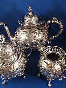 Dutch Sterling ~ Repousse Tea Set ~ Pot Sugar Creamer