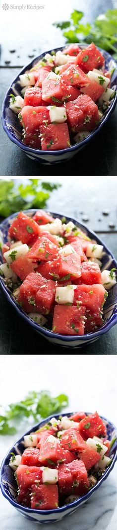 Watermelon Salad with Cotija, Jicama, and Lime, perfect for a #FourthOfJuly potluck! South of the border spin on watermelon salad with fresh watermelon, jicama, cilantro, and cotija cheese. ~ SimplyRecipes.com