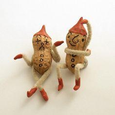 Two Vintage Peanut Elves Christmas Decoration.