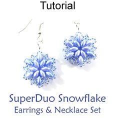 Beaded SuperDuo Snowflake Pendant Necklace Earrings Downloadable Beading Pattern Tutorial | Simple Bead Patterns