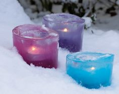 Ice candle holders for winter. Love the colors, love the idea. #diy #candle