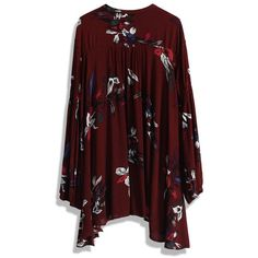 Chicwish Keep Swinging Floral Tunic in Wine ($59) ❤ liked on Polyvore featuring tops, tunics, fur vests, vest tops, floral tunic, retro tops and floral tops