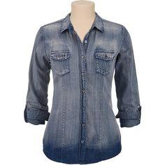 Maurices premium embellished pocket denim shirt ($35) ❤ liked on Polyvore featuring tops, shirts, denim shirts, pocket shirts, pocket denim shirt, embellished denim shirt and embellished shirt