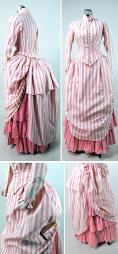 Summer seaside ensemble ca. Three pieces (bodice, flounced skirt, draped overskirt) in pink Victorian Gown, Victorian Costume, Victorian Fashion, Vintage Fashion, Antique Clothing, Historical Clothing, Vintage Gowns, Vintage Outfits, 1870s Fashion