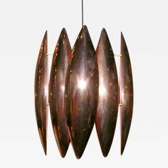 Louis Weisdorf Sculptural Pendant Fixture in Copper