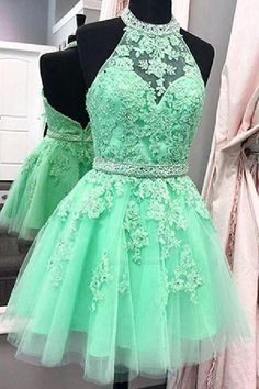 Prom Dresses Beautiful, Cute Light Blue High Neck Tulle Homecoming Dress,Backless Beaded Party Dress, Looking for the perfect prom dress to shine on your big night? Prom Dresses 2020 collection offers a variety of stunning, stylish ball. Lace Party Dresses, Hoco Dresses, Blue Wedding Dresses, Backless Prom Dresses, Tight Dresses, Pretty Dresses, Sexy Dresses, Dress Prom, Mini Dresses