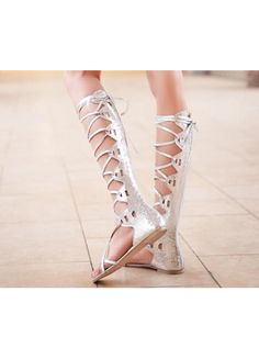 2013 Pretty Silver PU Thigh Highs Lady Flat Sandal With Tie