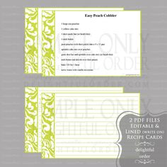 Editable and Printable - 4 x 6 Lime Damask Recipe Cards - (2) PDF Files