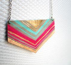 Leather Chevron Necklace