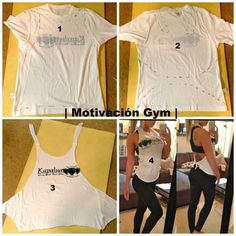 Pin by Kathy Riley on diy-clothes DIY Gym tank would be cute to make it longer for a swimsuit cover rad shirt re-vamp Probably gonna have no t shirts left by the end of today :D Zerschnittene Shirts, Diy Cut Shirts, T Shirt Diy, Cutting T Shirts, Diy Tshirt Ideas, Diy Gym Clothes, Diy Clothes Refashion, Clothes Crafts, Tops Diy