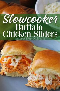 Five minutes of prep is all you need to make these delicious buffalo chicken sliders in the slow cooker using frozen (or fresh) boneless chicken breasts. Using only a few simple ingredients, this delicious meal cooks away while you go about your day! #buffalochicken #buffalosliders #chicken #buffalochickensliders #partyrecipes via @Ameecooks Slow Cooked Chicken, Chicken Tender Recipes, Boneless Chicken, Slow Cooker Pork, Slow Cooker Recipes, Crockpot Recipes, Easy Recipes, Buffalo Chicken Sandwiches, Chicken Sliders
