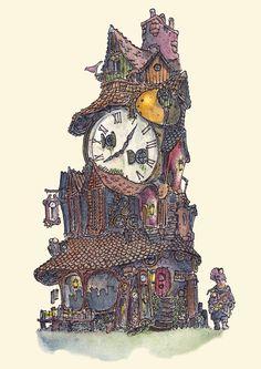 ArtStation - Little homes - Series, Fergal O' Connor Clock Shop, Prop Design, Little Houses, Concept Art, Steampunk, Digital Art, Fantasy, Creative, Illustration