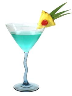 Aquamarine Martini ~ 2 oz. Blue Ice American Vodka ¾ oz. sweet & sour mix ½ oz. Blue Curacao ½ oz. pineapple juice Garnish: cherry and a slice of pineapple