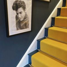 Yellow Hallway, Yellow Stairs, Hall Flooring, Flooring Ideas, Hallway Decorating, Decorating Ideas, Decor Ideas, House Stairs, Carpet Stairs